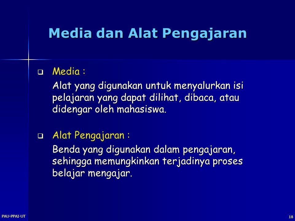 PAU-PPAI-UT 18 Media dan Alat Pengajaran  Media : Alat yang digunakan untuk menyalurkan isi pelajaran yang dapat dilihat, dibaca, atau didengar oleh