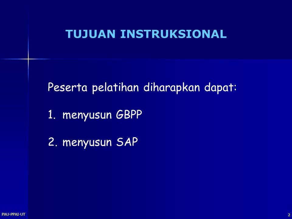 2 TUJUAN INSTRUKSIONAL Peserta pelatihan diharapkan dapat: 1.menyusun GBPP 2.menyusun SAP