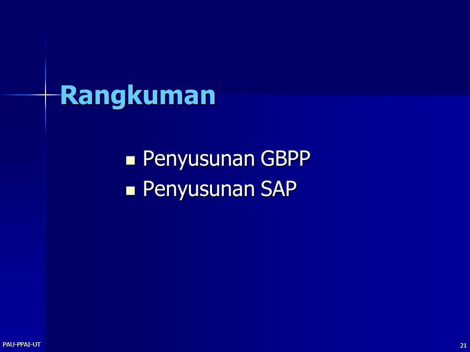 PAU-PPAI-UT 21 Rangkuman Penyusunan GBPP Penyusunan GBPP Penyusunan SAP Penyusunan SAP