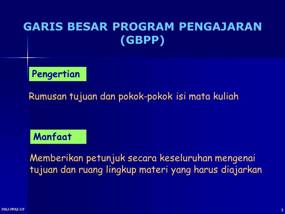PAU-PPAI-UT 3 GARIS BESAR PROGRAM PENGAJARAN (GBPP) Pengertian Rumusan tujuan dan pokok-pokok isi mata kuliah Manfaat Memberikan petunjuk secara kesel