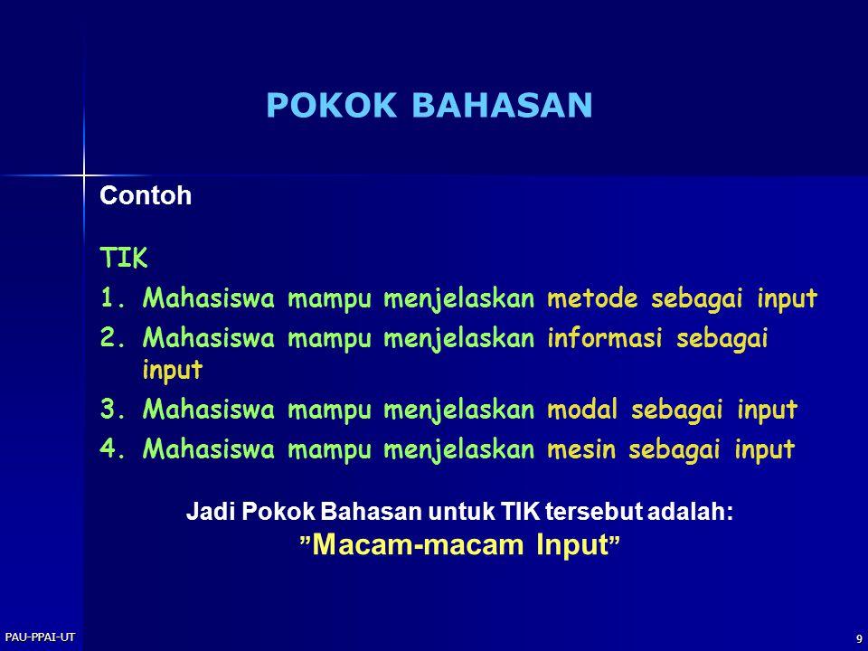 PAU-PPAI-UT 10 Contoh: Pokok Bahasan:Subjek Pajak Sub P.