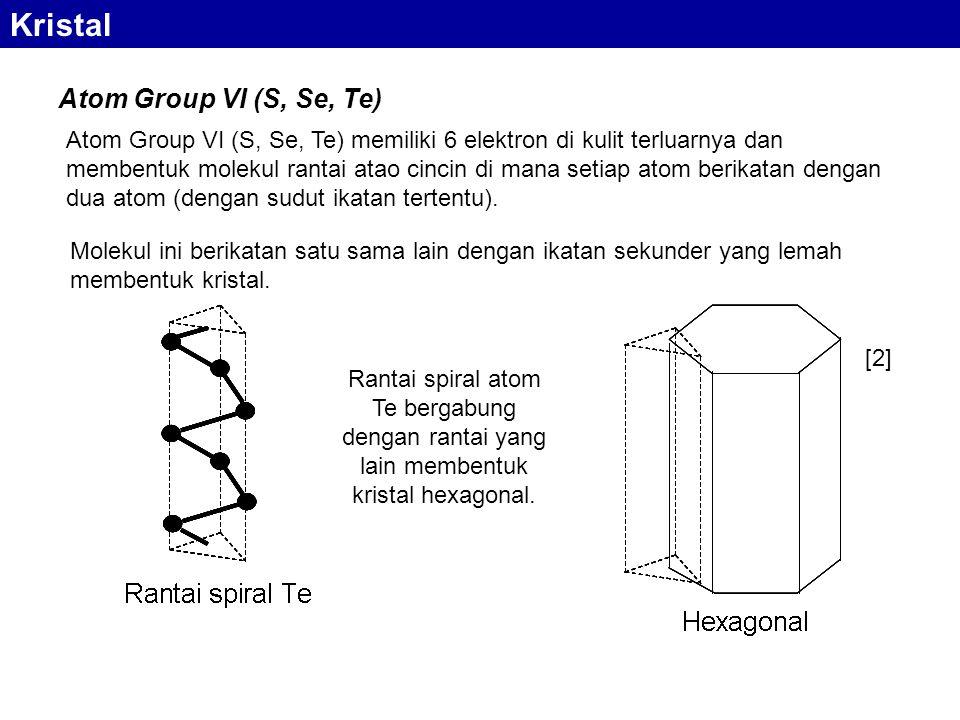 Atom Group VI (S, Se, Te) memiliki 6 elektron di kulit terluarnya dan membentuk molekul rantai atao cincin di mana setiap atom berikatan dengan dua atom (dengan sudut ikatan tertentu).