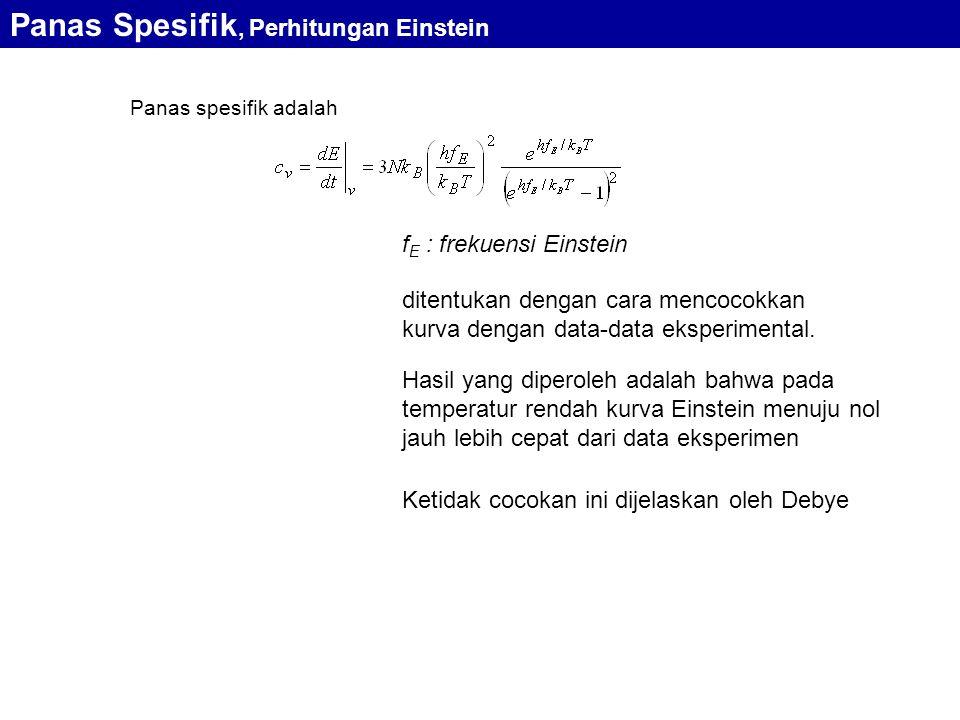 Panas Spesifik, Perhitungan Einstein Panas spesifik adalah f E : frekuensi Einstein ditentukan dengan cara mencocokkan kurva dengan data-data eksperimental.