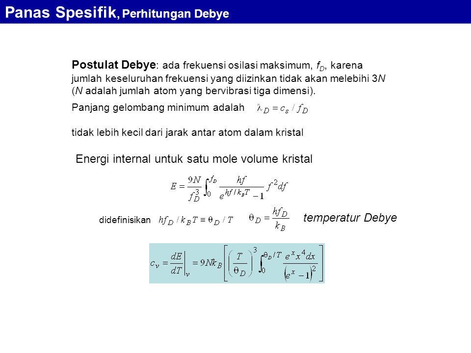 Postulat Debye : ada frekuensi osilasi maksimum, f D, karena jumlah keseluruhan frekuensi yang diizinkan tidak akan melebihi 3N (N adalah jumlah atom yang bervibrasi tiga dimensi).