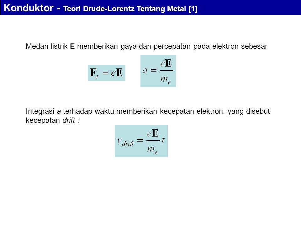 Medan listrik E memberikan gaya dan percepatan pada elektron sebesar Integrasi a terhadap waktu memberikan kecepatan elektron, yang disebut kecepatan drift : Konduktor - Teori Drude-Lorentz Tentang Metal [1]