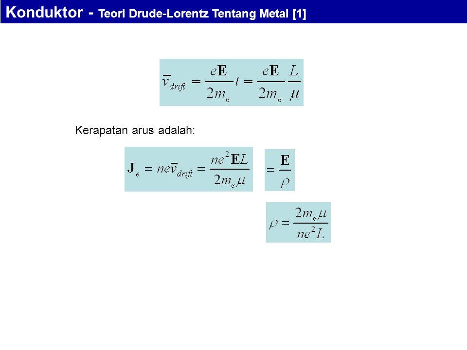 Kerapatan arus adalah: Konduktor - Teori Drude-Lorentz Tentang Metal [1]