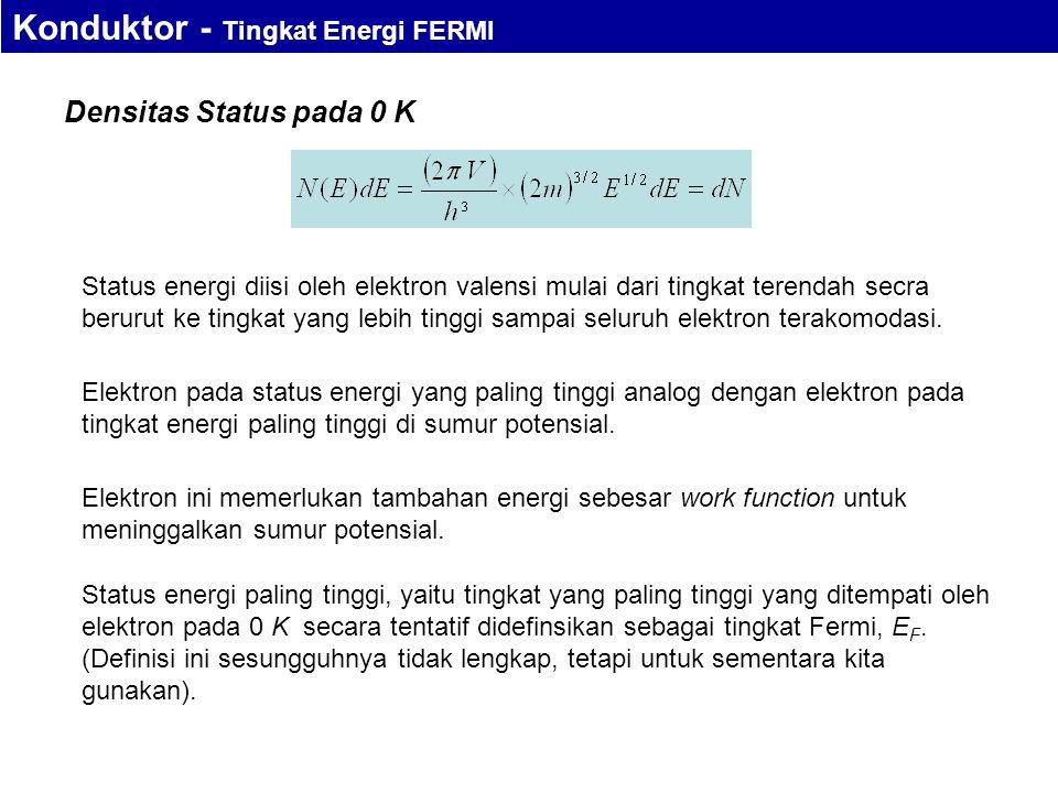 Densitas Status pada 0 K Status energi diisi oleh elektron valensi mulai dari tingkat terendah secra berurut ke tingkat yang lebih tinggi sampai seluruh elektron terakomodasi.
