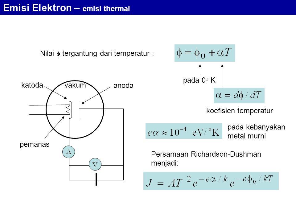 Nilai  tergantung dari temperatur : A V vakum pemanas katoda anoda pada 0 o K koefisien temperatur pada kebanyakan metal murni Persamaan Richardson-Dushman menjadi: Emisi Elektron – emisi thermal