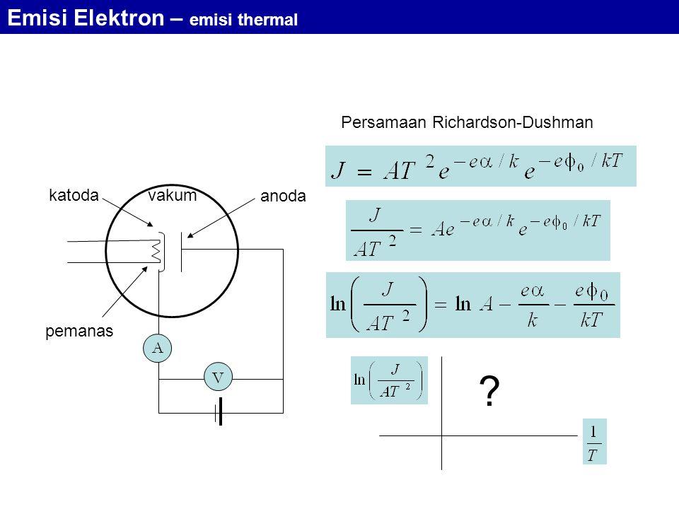 A V vakum pemanas katoda anoda Persamaan Richardson-Dushman ? Emisi Elektron – emisi thermal