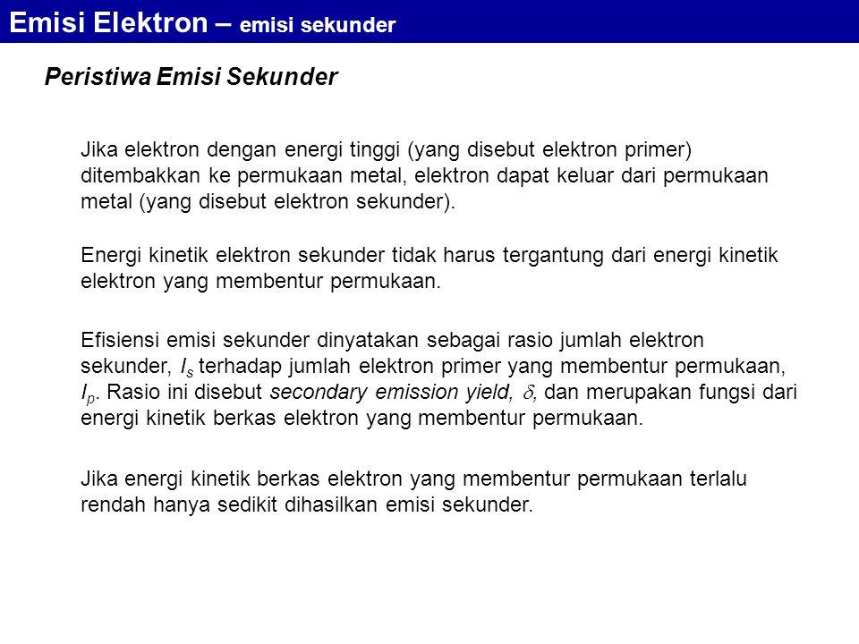 Jika elektron dengan energi tinggi (yang disebut elektron primer) ditembakkan ke permukaan metal, elektron dapat keluar dari permukaan metal (yang disebut elektron sekunder).