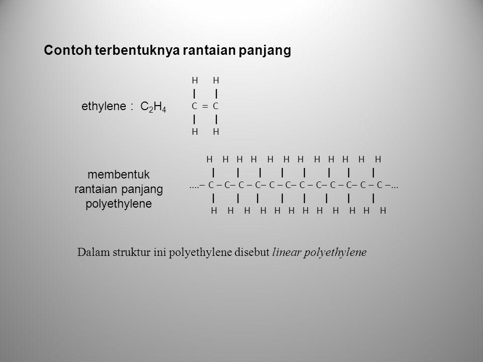 H H | | C  C | | H H ethylene : C 2 H 4 H H H H H H H H H H H H | | | | | | | |....  C  C  C  C  C  C  C  C  C  C  C  C ... | | | | | |