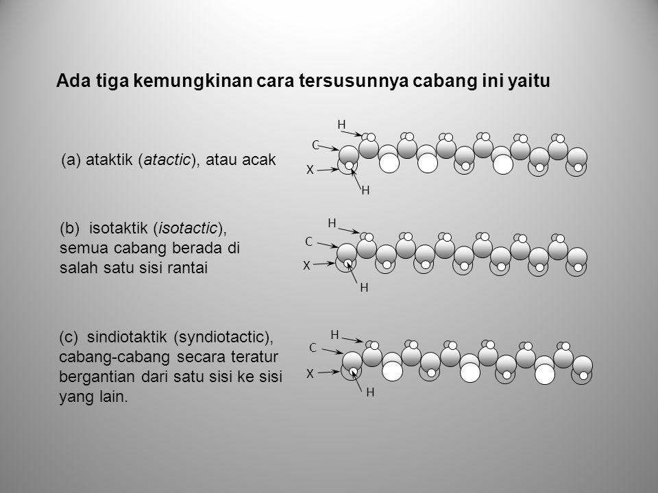 Ada tiga kemungkinan cara tersusunnya cabang ini yaitu H X C H H X C H H X C H (a) ataktik (atactic), atau acak (b) isotaktik (isotactic), semua caban
