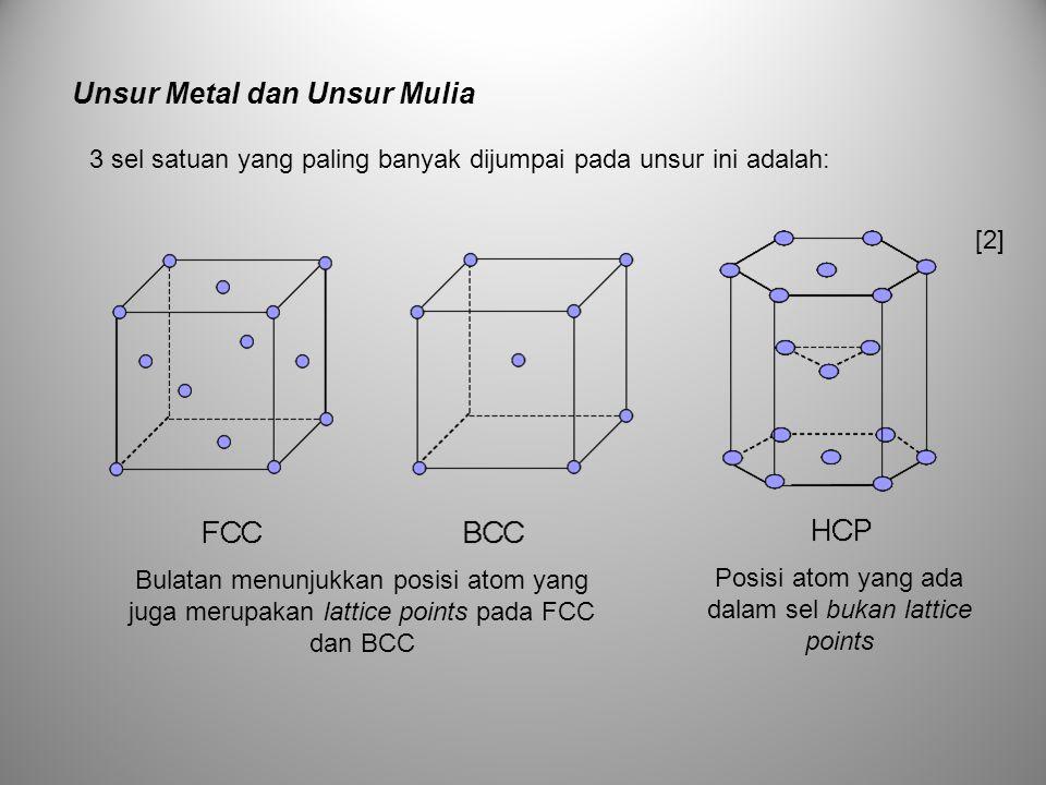 Unsur ini biasanya memiliki ikatan kovalen sehingga kristal yang terbentuk akan mengikuti ketentuan ikatan ini.