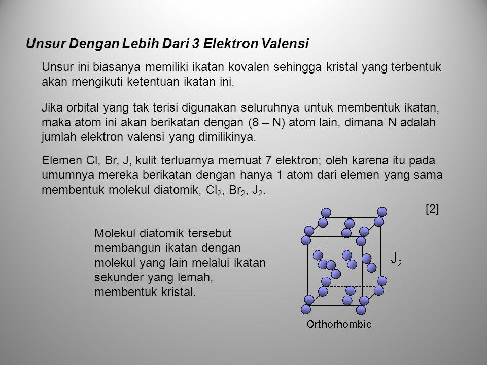 Unsur ini biasanya memiliki ikatan kovalen sehingga kristal yang terbentuk akan mengikuti ketentuan ikatan ini. Jika orbital yang tak terisi digunakan