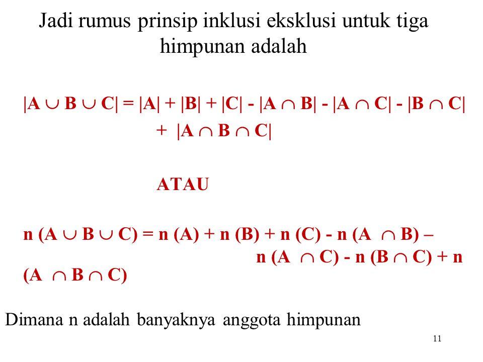 Jadi rumus prinsip inklusi eksklusi untuk tiga himpunan adalah  A  B  C  =  A  +  B  +  C  -  A  B  -  A  C  -  B  C  +  A  B  C  ATAU n (A  B