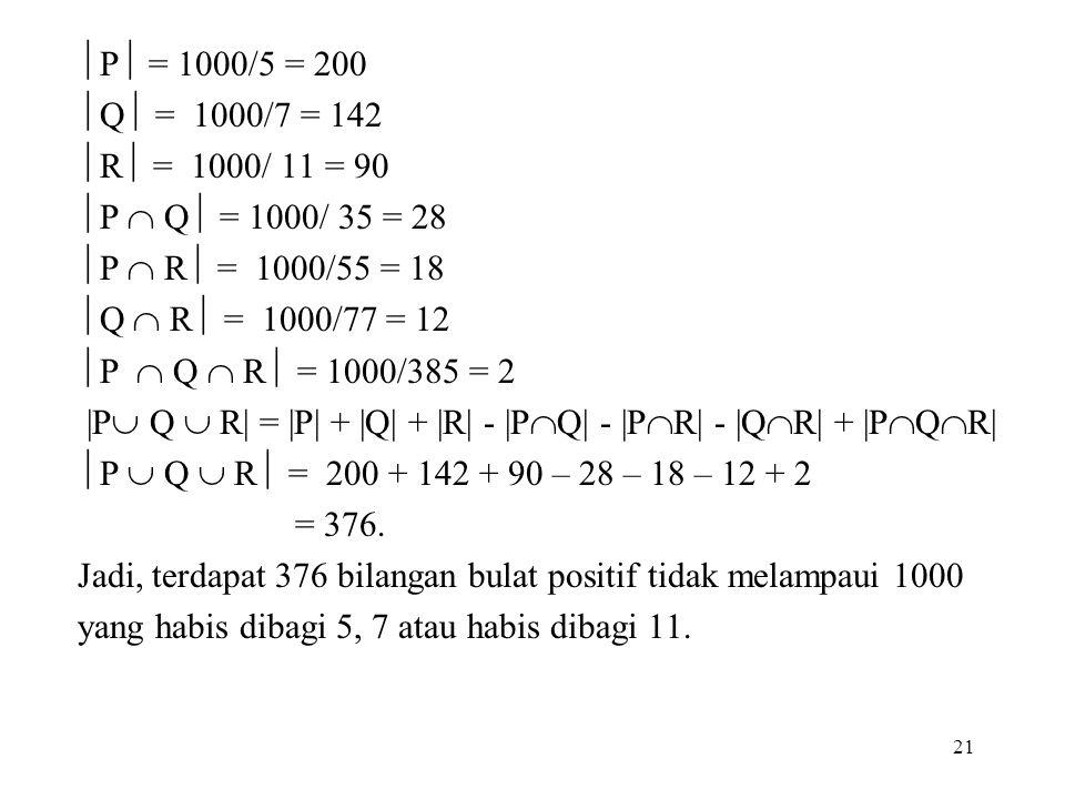  P  = 1000/5 = 200  Q  = 1000/7 = 142  R  = 1000/ 11 = 90  P  Q  = 1000/ 35 = 28  P  R  = 1000/55 = 18  Q  R  = 1000/77 = 12  P  Q 