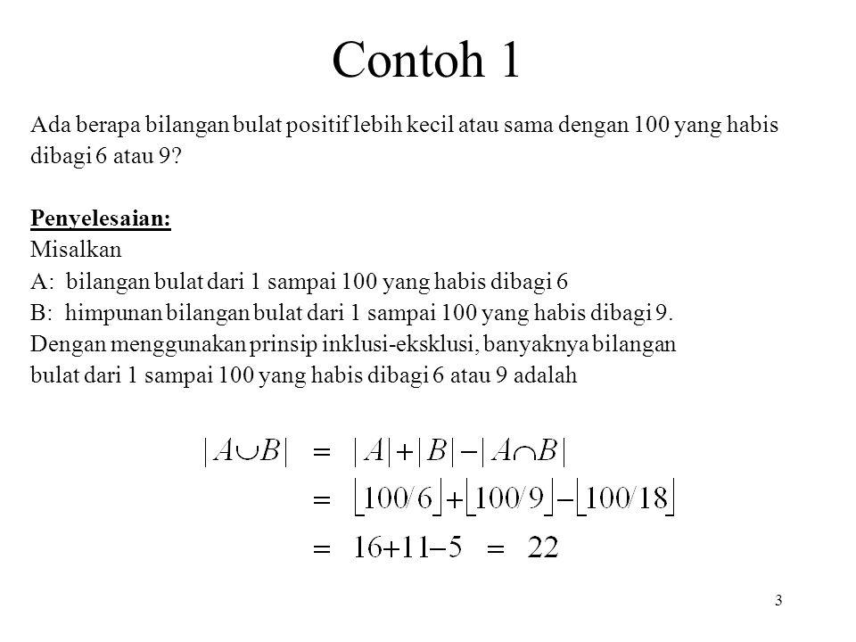 Contoh 1 3 Ada berapa bilangan bulat positif lebih kecil atau sama dengan 100 yang habis dibagi 6 atau 9? Penyelesaian: Misalkan A: bilangan bulat dar
