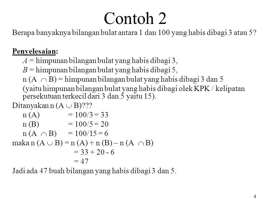Contoh 2 Berapa banyaknya bilangan bulat antara 1 dan 100 yang habis dibagi 3 atau 5? Penyelesaian: A = himpunan bilangan bulat yang habis dibagi 3, B