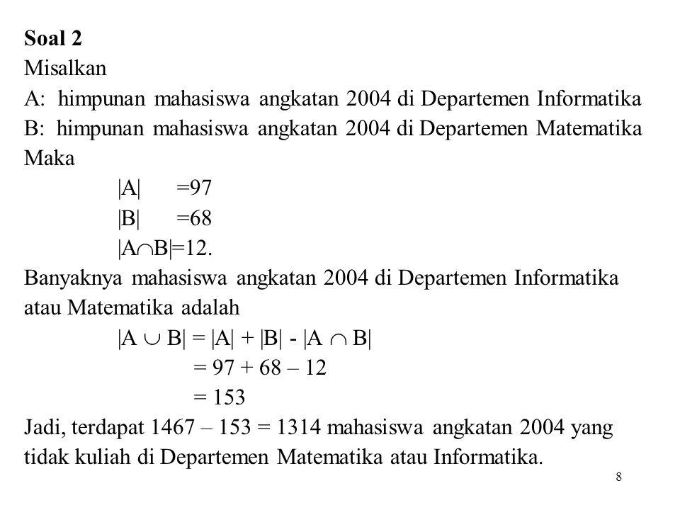 Soal 2 Misalkan A: himpunan mahasiswa angkatan 2004 di Departemen Informatika B: himpunan mahasiswa angkatan 2004 di Departemen Matematika Maka  A  =9