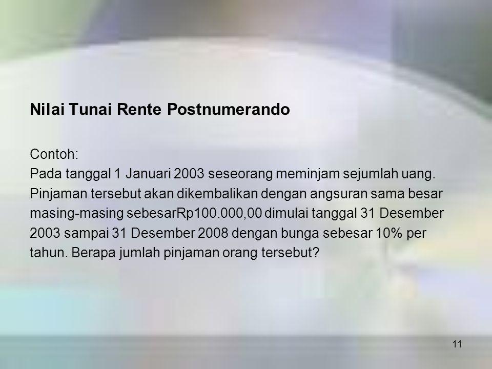 11 Nilai Tunai Rente Postnumerando Contoh: Pada tanggal 1 Januari 2003 seseorang meminjam sejumlah uang. Pinjaman tersebut akan dikembalikan dengan an