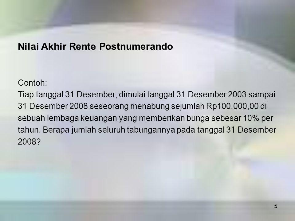 5 Nilai Akhir Rente Postnumerando Contoh: Tiap tanggal 31 Desember, dimulai tanggal 31 Desember 2003 sampai 31 Desember 2008 seseorang menabung sejuml
