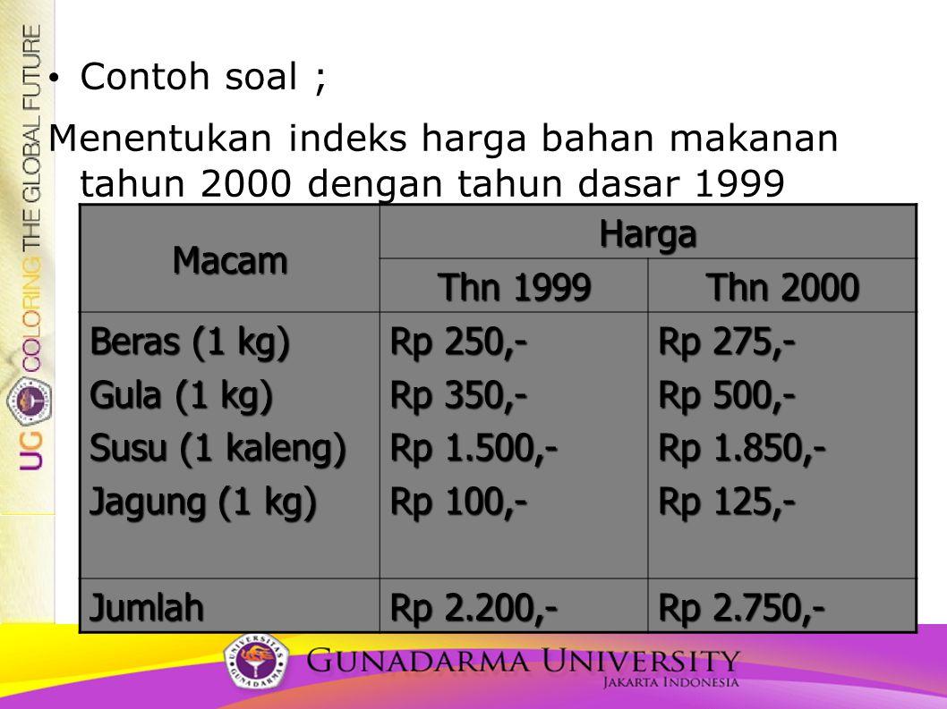 Contoh soal ; Menentukan indeks harga bahan makanan tahun 2000 dengan tahun dasar 1999 Macam Harga Thn 1999 Thn 2000 Beras (1 kg) Gula (1 kg) Susu (1