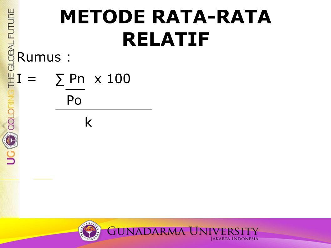 METODE RATA-RATA RELATIF Rumus : I = ∑ Pn x 100 Po k
