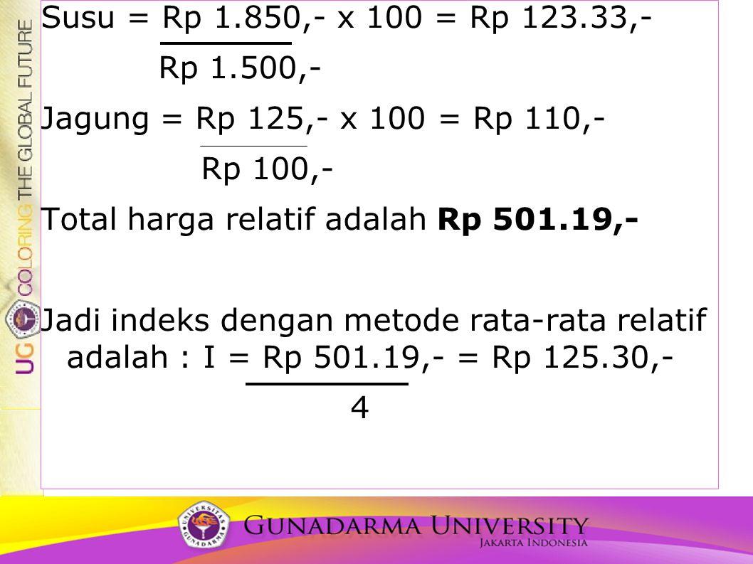 Susu = Rp 1.850,- x 100 = Rp 123.33,- Rp 1.500,- Jagung = Rp 125,- x 100 = Rp 110,- Rp 100,- Total harga relatif adalah Rp 501.19,- Jadi indeks dengan