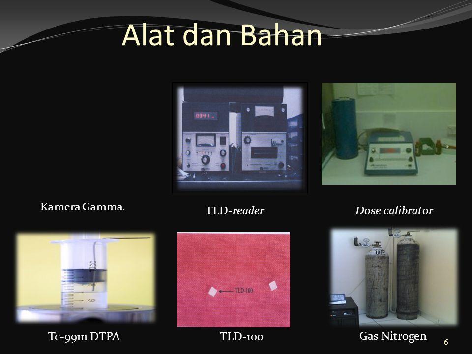 66 Alat dan Bahan Kamera Gamma. TLD-readerDose calibrator TLD-100 Gas Nitrogen Tc-99m DTPA 6