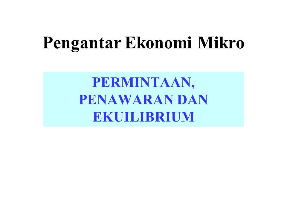 Pengantar Ekonomi Mikro PERMINTAAN, PENAWARAN DAN EKUILIBRIUM