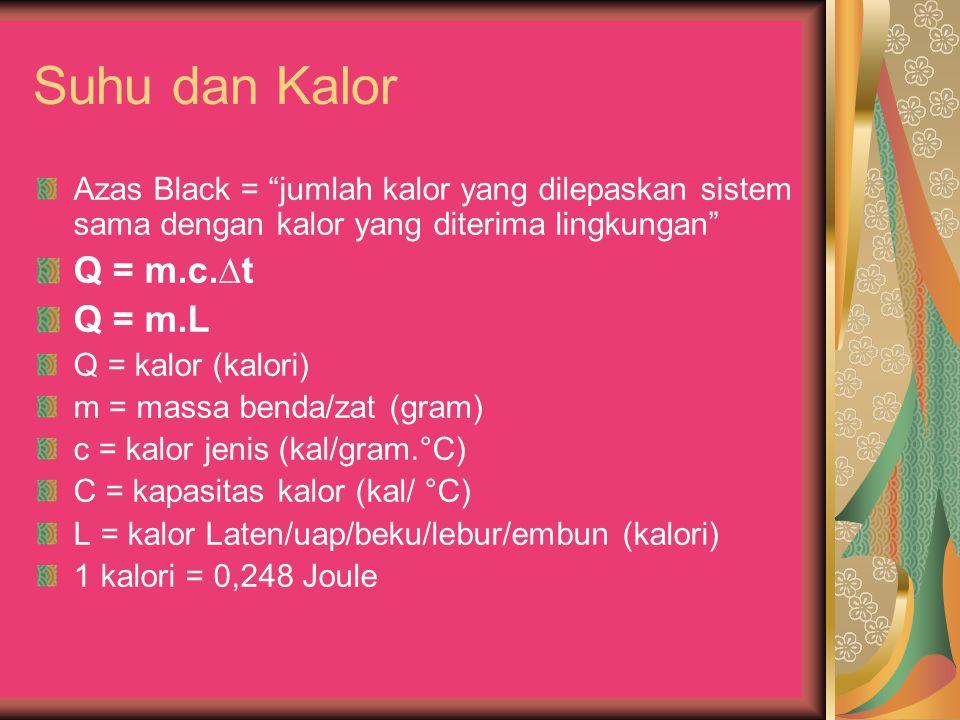 """Suhu dan Kalor Azas Black = """"jumlah kalor yang dilepaskan sistem sama dengan kalor yang diterima lingkungan"""" Q = m.c.∆t Q = m.L Q = kalor (kalori) m ="""