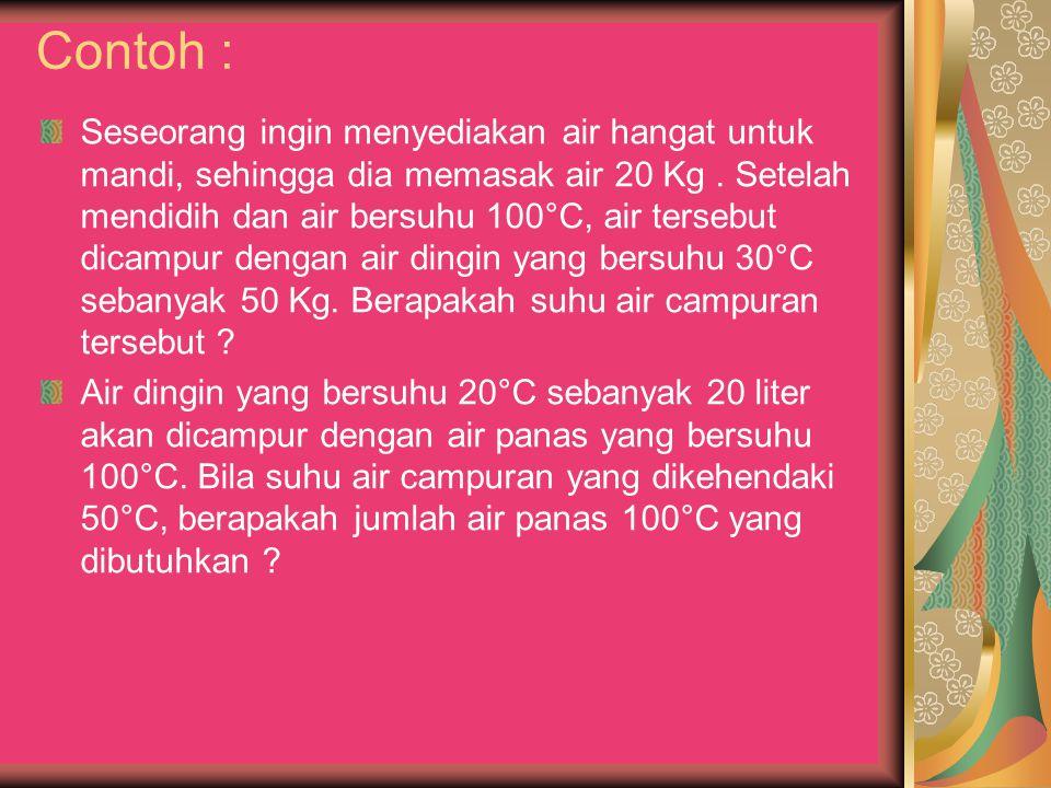 Contoh : Seseorang ingin menyediakan air hangat untuk mandi, sehingga dia memasak air 10 Kg (10 Kg air = 10 Liter).