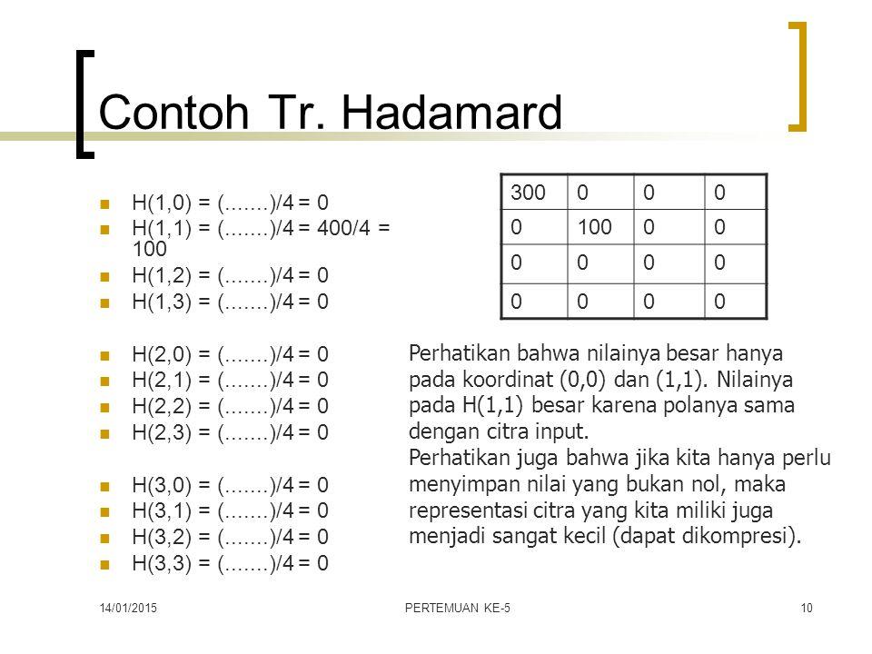 14/01/2015PERTEMUAN KE-510 Contoh Tr. Hadamard H(1,0) = (.......)/4 = 0 H(1,1) = (.......)/4 = 400/4 = 100 H(1,2) = (.......)/4 = 0 H(1,3) = (.......)