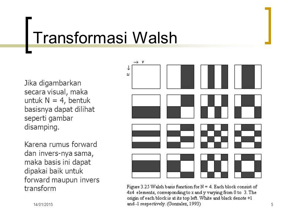 14/01/2015PERTEMUAN KE-55 Transformasi Walsh Jika digambarkan secara visual, maka untuk N = 4, bentuk basisnya dapat dilihat seperti gambar disamping.