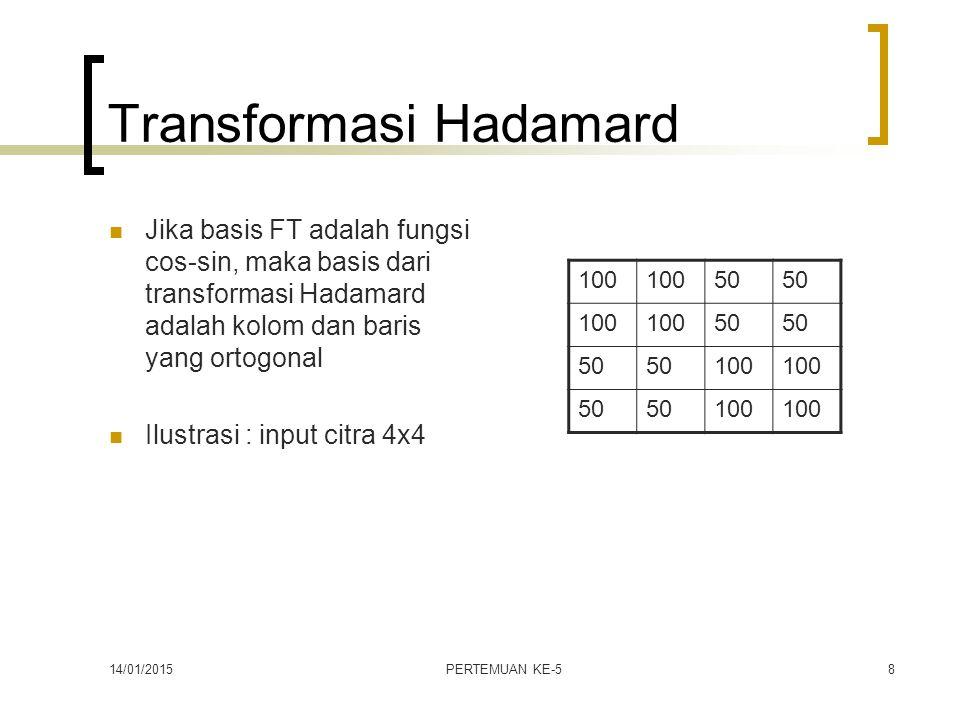 14/01/2015PERTEMUAN KE-58 Transformasi Hadamard Jika basis FT adalah fungsi cos-sin, maka basis dari transformasi Hadamard adalah kolom dan baris yang