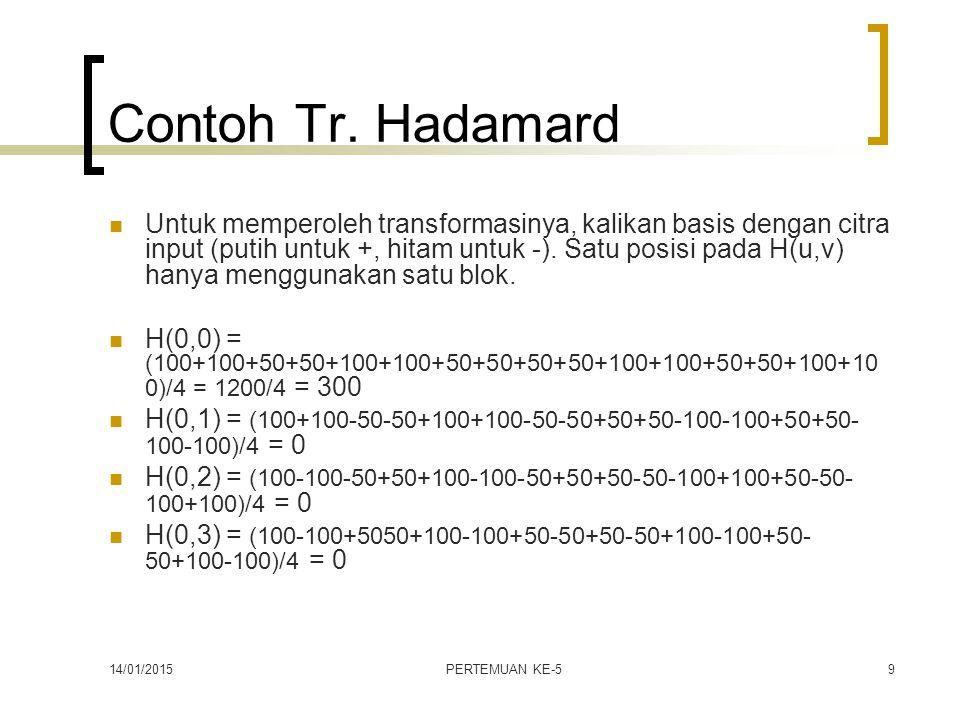 14/01/2015PERTEMUAN KE-59 Contoh Tr. Hadamard Untuk memperoleh transformasinya, kalikan basis dengan citra input (putih untuk +, hitam untuk -). Satu