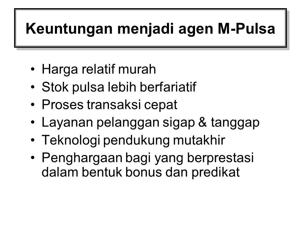 Keuntungan menjadi agen M-Pulsa Harga relatif murah Stok pulsa lebih berfariatif Proses transaksi cepat Layanan pelanggan sigap & tanggap Teknologi pe