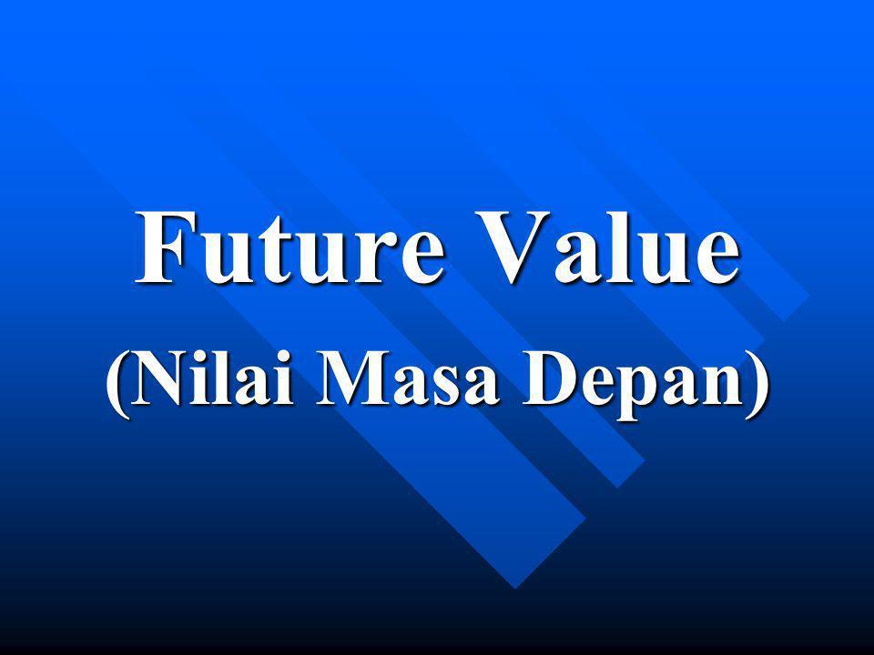 Present Value - single sums Misal anda menempatkan dana $100 dalam akun yang memberikan tingkat bunga 9.6%, compounded bulanan.