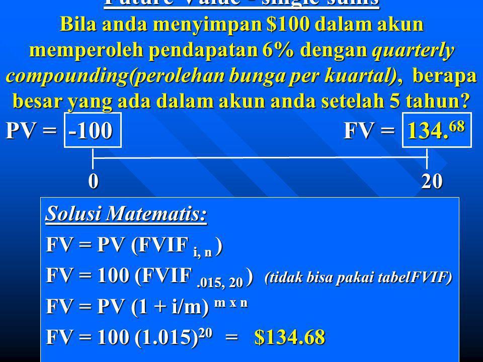 Secara matematis, (PVIFA i, n ) = Perpetuiti adalah anuitas dimana n = infinity. 1 - 1 (1 + i) n i