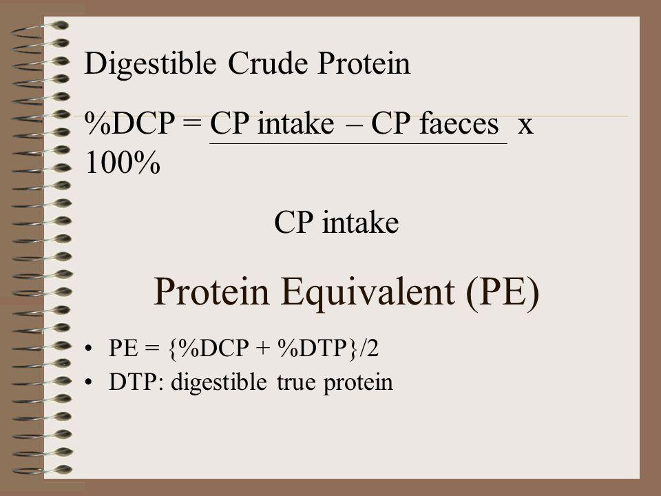 Protein Equivalent (PE) PE = {%DCP + %DTP}/2 DTP: digestible true protein Digestible Crude Protein %DCP = CP intake – CP faeces x 100% CP intake