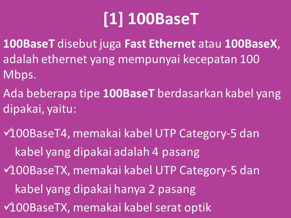 [1] 100BaseT 100BaseT disebut juga Fast Ethernet atau 100BaseX, adalah ethernet yang mempunyai kecepatan 100 Mbps.