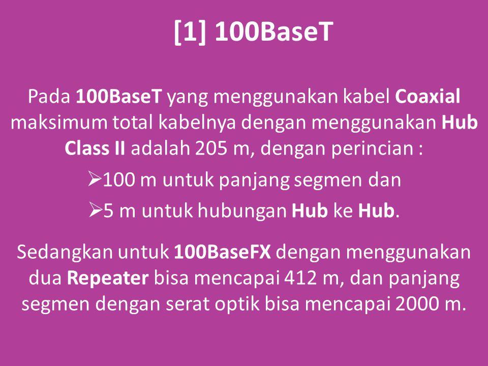 [1] 100BaseT Pada 100BaseT yang menggunakan kabel Coaxial maksimum total kabelnya dengan menggunakan Hub Class II adalah 205 m, dengan perincian :  100 m untuk panjang segmen dan  5 m untuk hubungan Hub ke Hub.
