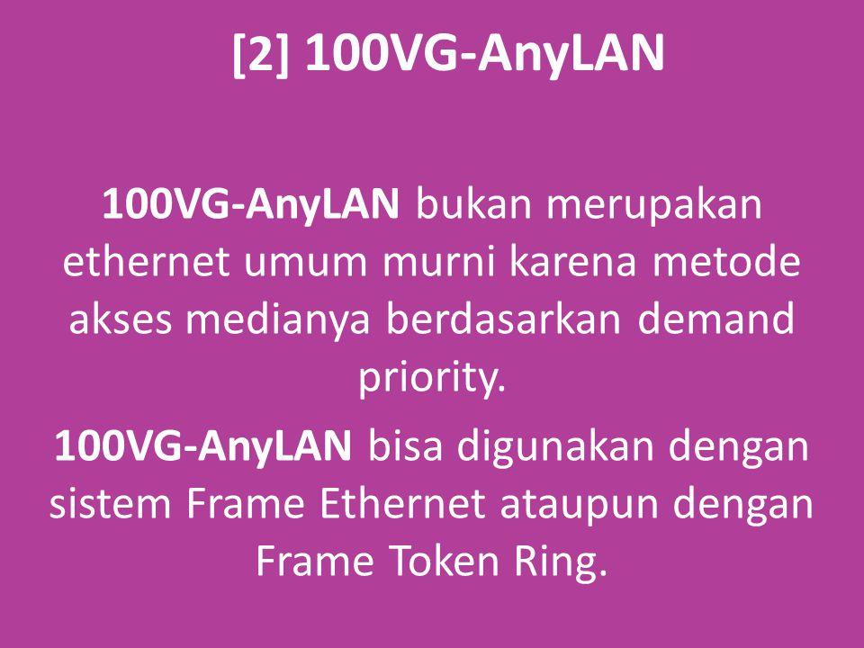 [2] 100VG-AnyLAN 100VG-AnyLAN bukan merupakan ethernet umum murni karena metode akses medianya berdasarkan demand priority.