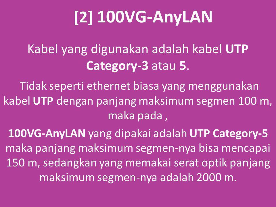 [2] 100VG-AnyLAN Kabel yang digunakan adalah kabel UTP Category-3 atau 5.
