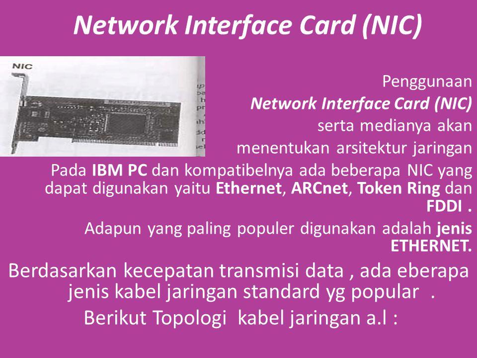 Network Interface Card (NIC) Penggunaan Network Interface Card (NIC) serta medianya akan menentukan arsitektur jaringan Pada IBM PC dan kompatibelnya ada beberapa NIC yang dapat digunakan yaitu Ethernet, ARCnet, Token Ring dan FDDI.