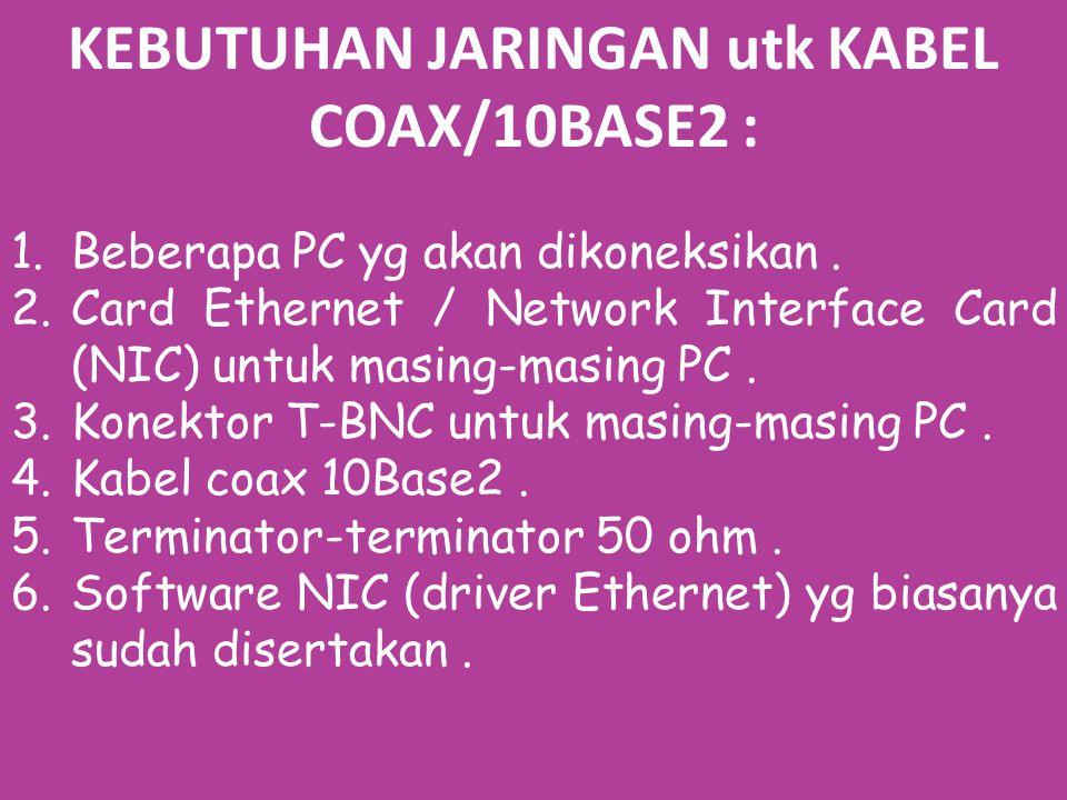 KEBUTUHAN JARINGAN utk KABEL COAX/10BASE2 : 1.Beberapa PC yg akan dikoneksikan.