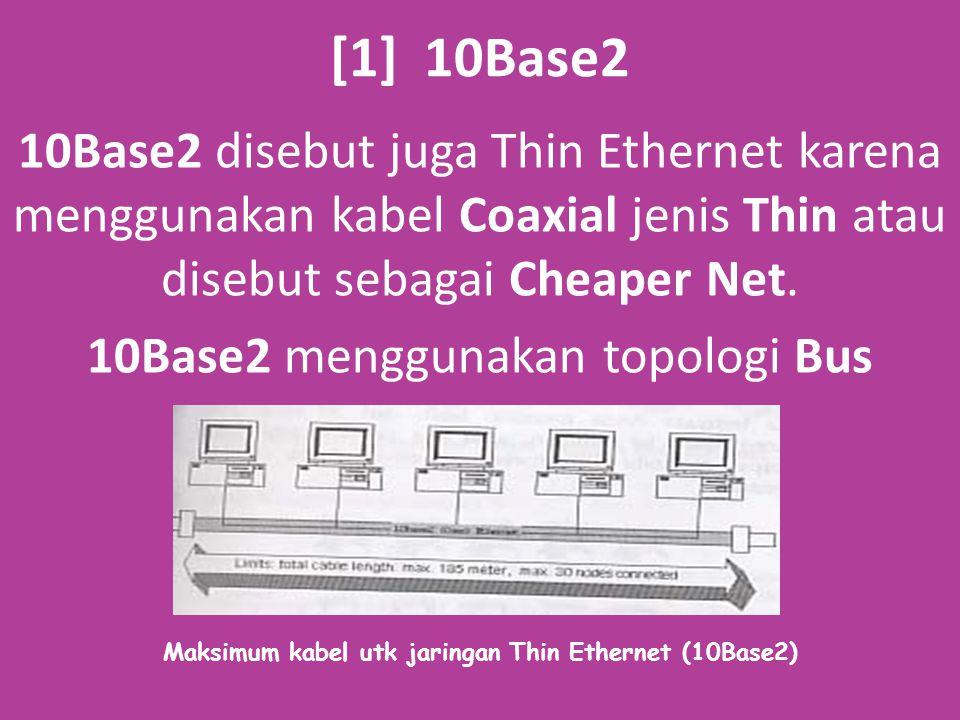 Spesifikasi 10Base2 Spesifikasi 10Base2 adalah sebagai berikut: 1.Panjang kabel per-segmen adalah 185 m 2.Total segmen kabel adalah 5 buah 3.Maksimum Repeater adalah 4 buah 4.Maksimum jumlah segmen yang terdapat node (station) adalah 3 buah 5.Jarak terdekat antar station minimum 0,5 m 6.Maksimum jml station dalam satu segmen kabel adalah 30 7.Maksimum panjang keseluruhan dg Repeater adalah 925 m 8.Awal dan akhir kabel diberi Terminator 50 ohm 9.Jenis kabel yang digunakan RG-58A/U atau RG-58C/U