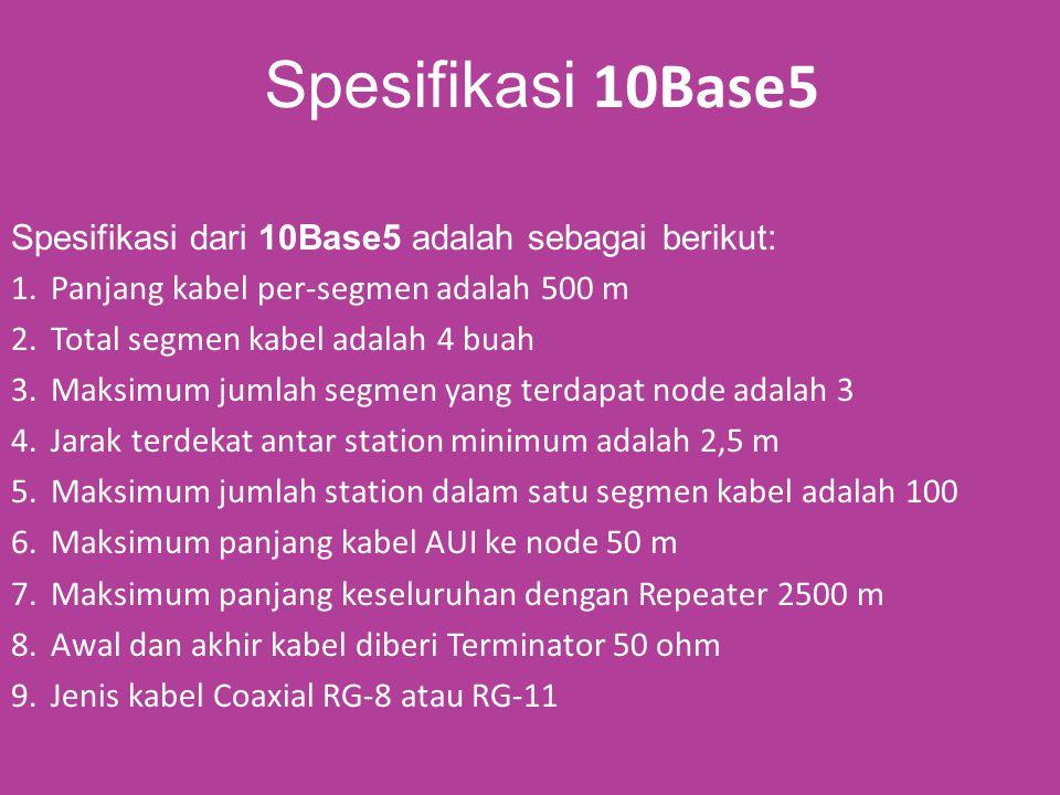 [3] 10BaseT Berbeda dengan 10Base2 atau 10Base5 yang menggunakan topologi Bus, pada ethernet 10baseT menggunakan topologi Star.