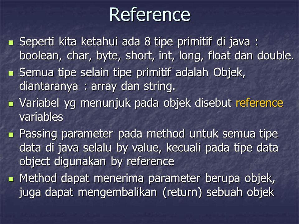 Reference Seperti kita ketahui ada 8 tipe primitif di java : boolean, char, byte, short, int, long, float dan double. Seperti kita ketahui ada 8 tipe