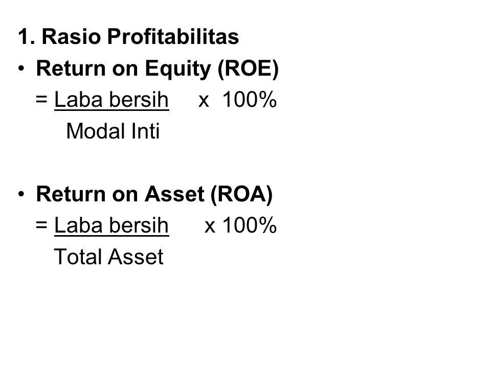 1. Rasio Profitabilitas Return on Equity (ROE) = Laba bersih x 100% Modal Inti Return on Asset (ROA) = Laba bersih x 100% Total Asset